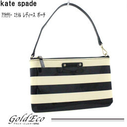 Kate Spade 【Kate Spade】 Accessories Pouch Enamel Black × Cream Gold Hardware Women's Bag