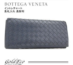 BOTTEGA VENETA 【Bottega Veneta】 Wallet wallet with Intorechat length 120697 Navy mens women's leather [pre]