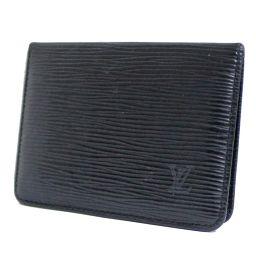 LOUIS VUITTON ルイ ヴィトン ポルト 2カルト ヴェルティカル カードケース エピ M63202 パスケース エピレザー ノワール ブラック メンズ【中古】