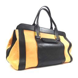 Chloe Alice Bicolor Large Size Handbag Leather Salmon Pink Black Ladies [Used]