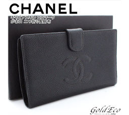 CHANEL 【Chanel】 Kokomark Pouch Folded Long Purse Black Black A13498 Caviar Skin Leather Gold Hardware Logo Women's Wallet [pre]