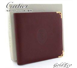 Cartier 【Cartier】 Must line leather double fold wallet Bordeaux Gold Men's ladies unisex accessories [pre]
