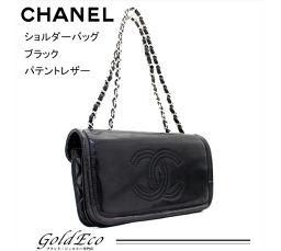 CHANEL 【シャネル】Wチェーン ショルダーバッグ ブラック パテントレザー A49863 【中古】ココマーク バッグ 黒