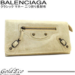BALENCIAGA 【Balenciaga】 Classic Money Folded Long Purse Vintage Processed Leather Beige Men's