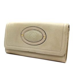 LOEWE Loewe 122.75.555 long wallet leather beige ladies 【pre-owned】