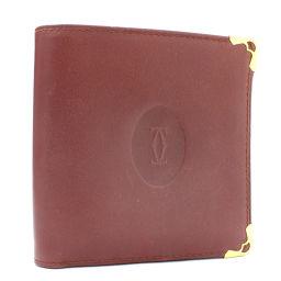 CARTIER カルティエ マストライン 二つ折り財布 レザー ボルドー ユニセックス【中古】