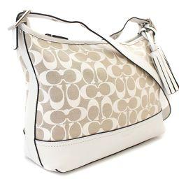 COACH Coach Signature 31041 Shoulder Bag Canvas / Leather Beige White Women [Pre]