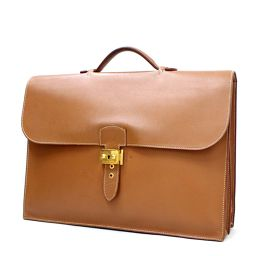 HERMES Hermes Sac Adepeche 41 documents bag □ B engraved business bag leather beige men [pre]
