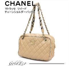 CHANEL 【Chanel】 Matrasse tweed chain shoulder bag lambskin beige × gold hardware