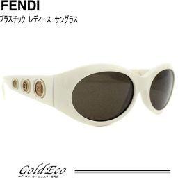 FENDI【フェンディ】サングラスホワイト ブラウンレンズプラスチック ロゴゴールド金具 男女兼用美品【中古】FENDI