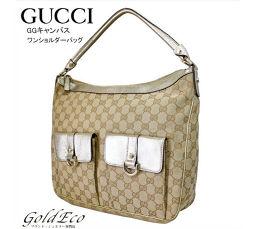 GUCCI 【グッチ】GGキャンバス ワンショルダーバッグ153025 ベージュ ゴールドキャンバス レザー肩掛け
