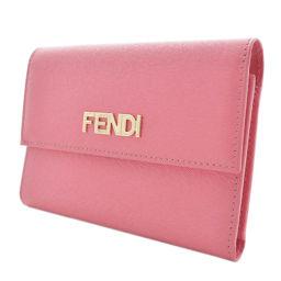 FENDI フェンディ 8M0026 三つ折り財布 レザー ピンク レディース【中古】