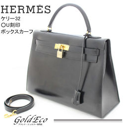 <br> [Used] HERMES Hermes Kelly 32 Box Calf Black Kelly Bag Ladies Handbag Shoulder Bag Leather Black Gold Hardware ○ U stamped 1991 manufactured [Used]