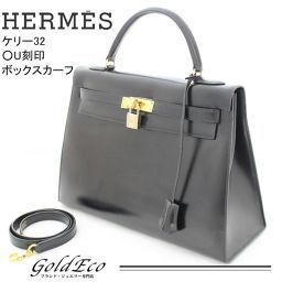 <br> [Używany] HERMES Hermes Kelly 32 Box Calf Czarna Kelly Bag Damska torebka Torba na ramię Skórzana czarna złoto Sprzętu ○ U tłoczony 1991 wyprodukowano [Używany]