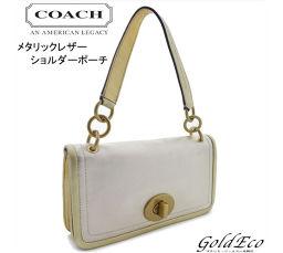 COACH【コーチ】バッグ ハンドポーチメタリックレザー ワンショルダーゴールド金具 レディース【中古】