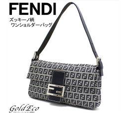 FENDI【フェンディ】ズッキーノ ワンショルダーバッグキャンバス×レザー グレー×ネイビーハンドバッグ
