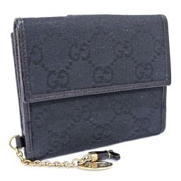 GUCCI Gucci W with hook charm 154 183 two-fold wallet GG canvas / leather black ladies [pre-owned]