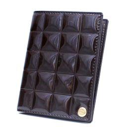 CHANEL シャネル チョコバー ココマーク カードケース エナメル ダークブラウン レディース【中古】