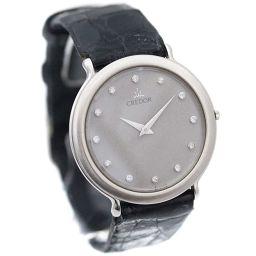 SEIKO セイコー クレドール 12Pダイヤ 7770-6100 腕時計 グレー文字盤 クオーツ ブラック PT メンズ【中古】