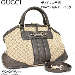 GUCCI 【Gucci】 Diamante Pattern Tote Bag Canvas × Leather 2472862WAY Boston Bag Handbag