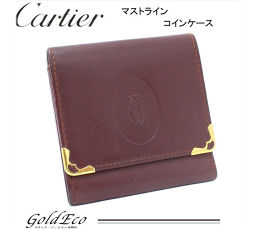 Cartier【カルティエ】マストライン コインケースレザー ボルドー×ゴールド金具小銭入れ 財布 レディース メンズ【中古】