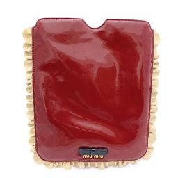 MIUMIU ミュウミュウ エナメル  iPadケース タブレットケース 5ARE43 その他バッグ パテントレザー レッド ベージュ レディース【中古】