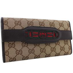GUCCI Gucci Tri-Folded Horsebit Webbing Line 295354 ・ 534638 Long Purse GG Canvas / Leather Beige Dark Brown Unisex [Pre]