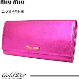 Miumiu [Miu Miu] Logo Folded Long Wallet Shining Leather 5M1109 Metallic Pink Women [Pre] miumiu