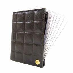 CHANEL シャネル チョコバー スライド カードホルダー カードケース レザー ブラック ユニセックス【中古】