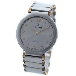 WALTHAM ウォルサム ラウンドケース ボーイズサイズ 腕時計 クオーツ シルバー ゴールド メンズ【中古】