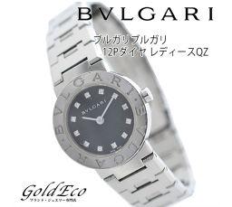 BVLGARI【ブリガリ】 ブルガリブルガリ 12Pダイヤ レディースQZ【中古】 ブラック文字盤/SS ダイヤモンド BB23SS