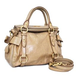 Miu Miu Miu Miu 2 WAY Handbag Leather Beige Women's [pre]