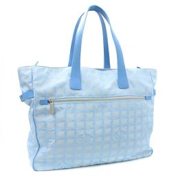 Chain Chanel Tote GM New Travel Line A15825 Tote Bag Nylon / Leather Blue Women [Pre]