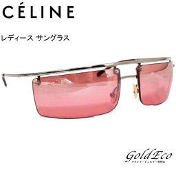 CELINE【セリーヌ】レディース サングラスシルバー×レッド ロゴSC1037 ステンレス×プラスチック【中古】