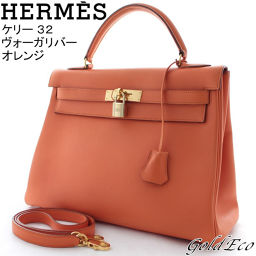 HERMES 【Hermes】 Kelly 32 Handbag Vauga River Orange Shoulder 【Second Hand】 Women's