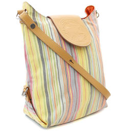 HUNTING WORLD Hunting World stripe diagonal shoulder bag canvas / leather multicolor ladies [pre-owned]
