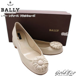 BALLY [Bally] Leather Flat Shoes Ballet Shoes Shoes Flower White Ivory Women's approximately 23 cm [pre]