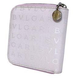 BVLGARI ブルガリ ラウンドファスナー ロゴマニア 24843 二つ折り財布 キャンバス/レザー ライトピンク レディース【中古】