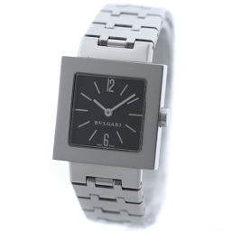 BVLGARI ブルガリ クアドラード SQ22SS 腕時計 ブラック文字盤 クオーツ シルバー レディース【中古】