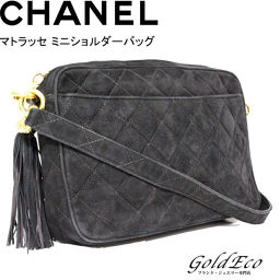 CHANEL [Morch] Matrasse Mini shoulder bag suede Tassel Coco Mark Black Black