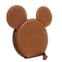 COACH コーチ ディズニー ミッキーマウス コインケース レザー ブラウン ユニセックス【中古】