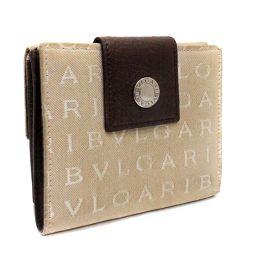 BVLGARI ブルガリ ロゴマニア ダブルホック 二つ折り財布 キャンバス/レザー ベージュ/ブラウン ユニセックス【中古】