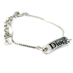 Christian Dior クリスチャンディオール ロゴプレート 腕輪 ブレスレット メタル アクセサリー シルバー レディース【中古】