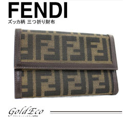 FENDI【フェンディ】ズッカ柄 レザー キャンバス 三つ折り 財布 カーキ 30858 レディース【中古】