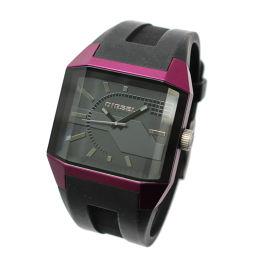DIESEL ディーゼル DZ-1388 腕時計 ブラック文字盤 クオーツ ブラック パープル メンズ【中古】