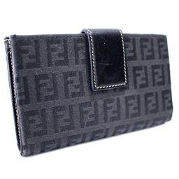 FENDI フェンディ ズッカ柄 がま口 二つ折り財布 キャンバス/レザー ブラック レディース【中古】