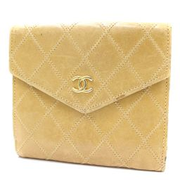 CHANEL Chanel W Hook Coco Mark Bikolore Two-fold wallet calf beige ladies [pre-owned]