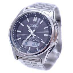 CASIO カシオ ウェーブセプター 5161 WVA-M630 腕時計 ダークブラウン文字盤 ソーラー電波時計 シルバー メンズ【中古】