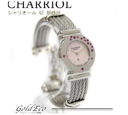 CHARRIOL 【シャリオール】サントロペ クォーツ 腕時計12Pストーン シルバー金具 ピンクシェル文字盤