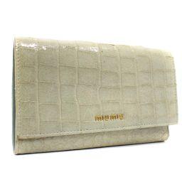MIUMIU ミュウミュウ クロコ調 三つ折り財布 型押しレザー グレー レディース【中古】